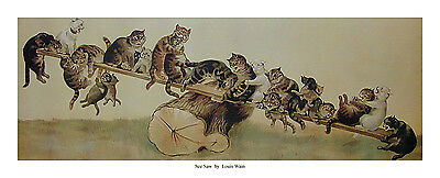 Any three Louis Wain Prints for £33 including P&P- Cats See Saw