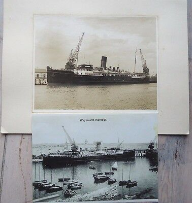 2 photos of GWR ferry SS St Helier, used at Dunkirk, in Weymouth harbour