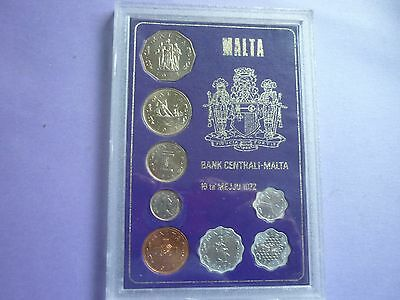 Malta - Cased Uncirculated 1972 Set Of 8 Uncirculated Coins - 2 Cents - 50 Cents