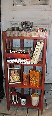 """Antique """" Red Paint """" Mission Arts & Crafts Book Curio Shelf Stand # 2"""