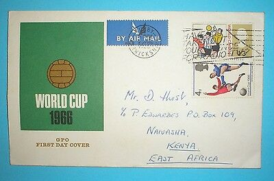 GB commemorative first day cover - 1966 - World Cup - addressed to Kenya