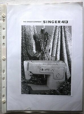 Electric Singer Sewing Machine Copy  Instruction Handbook Model 413