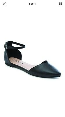 ladies flat pointed black shoes size 4