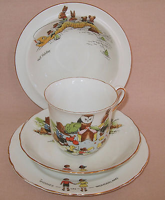 Vintage Tuscan China Children's Crockery Set, Kiddies In Wonderland
