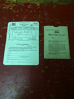 1920 Motor Vehicle Permit Province Of Ontario