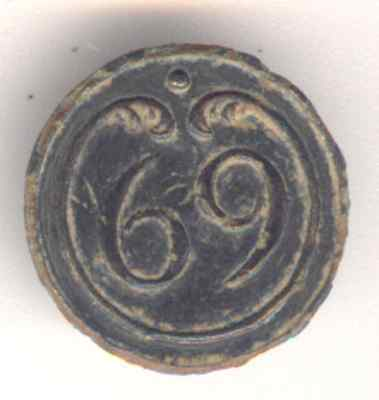 Cincin19,Button 69 th line Infantry French army,Napoleonic Peninsular War,16mm