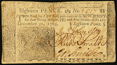 Colonial Currency Fr. NJ-153 December 31, 1763 18 Pence Very Fine