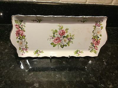 Vintage Old Foley China Sandwich Tray Pink & White Roses James Kent England
