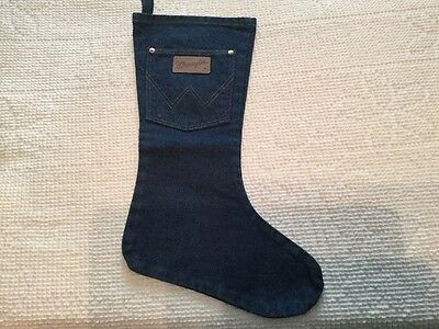 Wrangler Cotton Blue Jeans Christmas Stocking Western Country Cowboy Holiday Euc