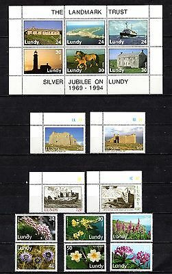 Lundy unmounted mint sets,as per scan(2218)