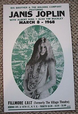 Vintage JANIS JOPLIN All Natural Concert Poster Fillmore East NYC March 1968