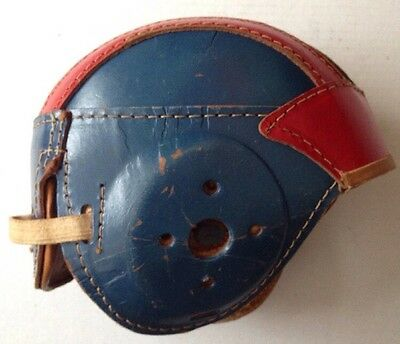 1950s GLOBE 214 YOUTH LEATHER FOOTBALL HELMET, RED AND BLUE, VINTAGE