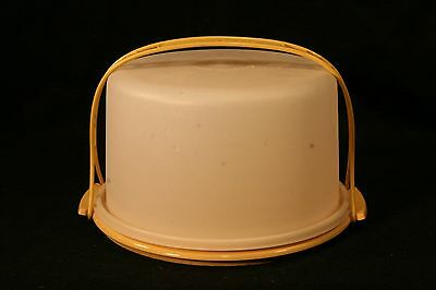 Vintage Tupperware Yellow Harvest Gold Round Cake Taker with Handle Tall 684-5