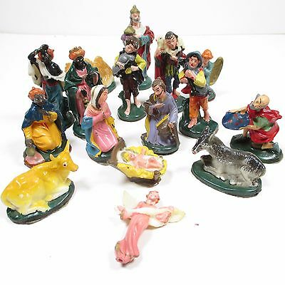 Vintage Plastic Nativity Figures Small Painted 16 Pieces Colorful Christmas 2 In