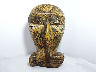 Vintage Hand Carved Wood Wooden Art Rare Figurine Antique Figure Hanging wall