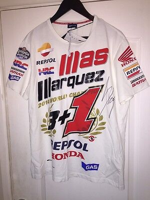 2014 Signed Marc Marquez Champion T Shirt.team Issue Shirt Not A Replica