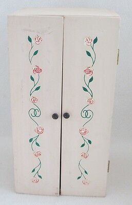 Painted Wood Doll Wardrobe with pole for hanging clothes-Mirror