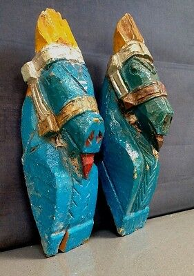 ANTIQUE/VINTAGE INDIAN WOODEN HORSE HEAD SCULPTURES. PAIR, distressed TURQUOISE.