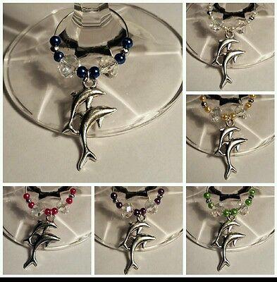 Silver Dolphin Wine Glass Charms x 6  / Stem Jewelry All Occasion Gift