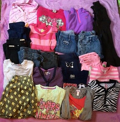 girls clothes sz 10/12 lot of 21 jackets sweaters  jeans Crazy 8 Justice Gap