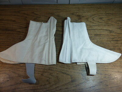 Vintage non matching pair Hobson & Sons mens white military Spats size 3