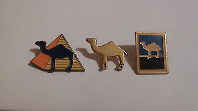 Set of 3 Vintage Camel Cigarettes Metal & Enamel Pins/Badges.