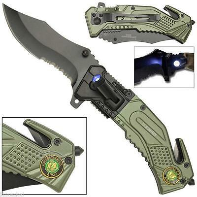 Rogue River Tactical LED Flashlight US Army Spring Assisted Pocket Knife Green