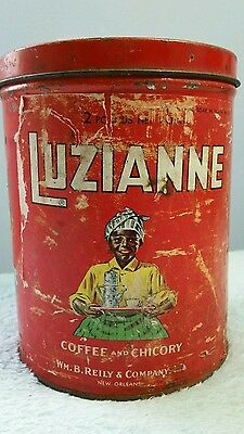 Luzianne Coffee Tin Original New Orleans 2 pound can  Black Americana Vintage