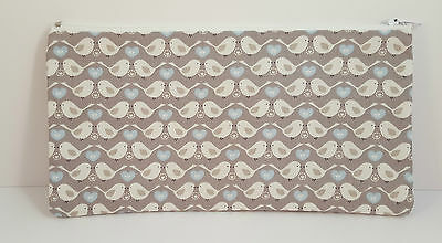 Gorgeous Grey Birds Fabric Handmade Pencil Case Make Up Bag Storage Pouch