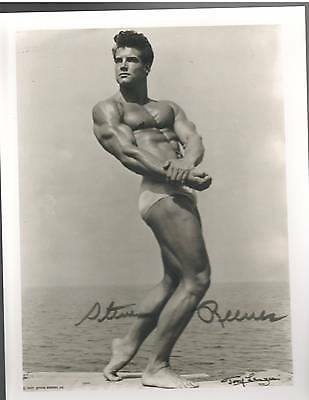 STEVE REEVES Mr Universe Bodybuilding Muscle Photo B&W Signed
