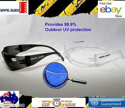 3x Bifocal Safety Glasses Clear or grey lens Safety Readers Mixed strengths