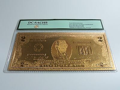 24K Gold Limited Edition US $2 Banknote Bill DC SACHS * FREE US SHIPPING *