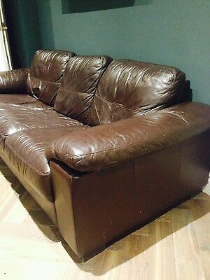 Brown leather sofa set: 3 seater, 2 seater + footstool