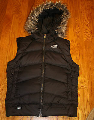The North Face 550 Fill Goose Down BLACK Puffer Vest with Hood, Women's M