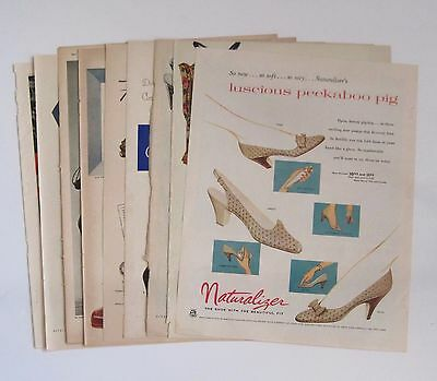 Lot of NINE Women's Shoes Color Magazine Ads 7, 1940's & 2, 1950's Total of 9