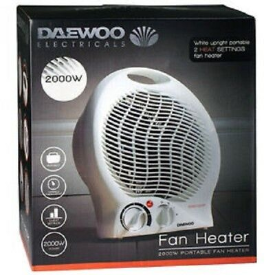 Daewoo White Small Portable 2000W Electric Fan Heater Floor & Upright Silent New