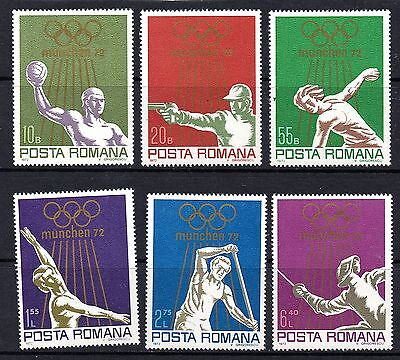 Rumania (1077) 1972 Olympic Games, Munich (2nd issue) Lightly mounted Sg3914-9