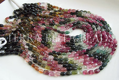 """13"""" strand WATERMELON TOURMALINE faceted gem stone oval nugget beads 5mm - 7mm"""