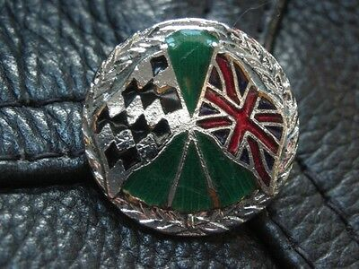 Vintage Motorcycle Crossed Flags British Racing Motorbike Enamel Bike Badge