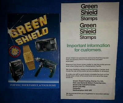 Vintage Green Shield catalogue and 2 information leaflets