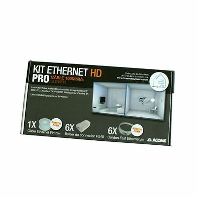 Kit Ethernet HD PRO cable ultrafin 100Mb ACOME pour Box PC TV - Neuf
