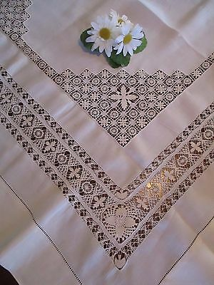 "Ivory Linen Tablecloth 40"" Sq. w/Exquisite Drawn Work, Vintage Beautiful"