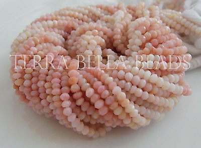 """13"""" shaded PINK PERUVIAN OPAL faceted rondelle gem stone beads 3mm - 3.5mm"""