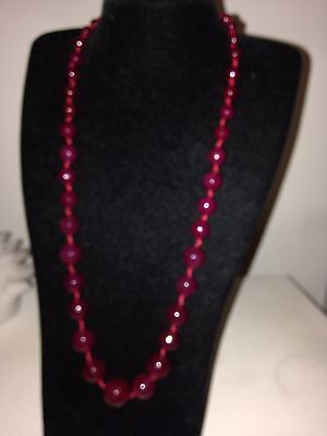 9 ct yellow gold pl natural red agate necklace 20- 22 inches