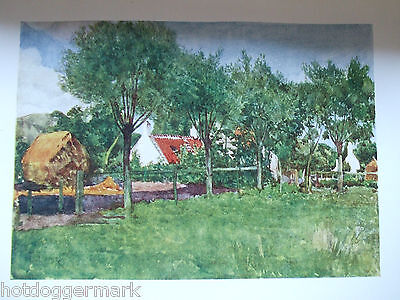 Antique Print Dated 1908 Colour Belgium Painted By Forestier A Farmsteading