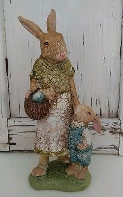 Vintage Inspired Mamma and Baby Hare Easter / Spring Figure