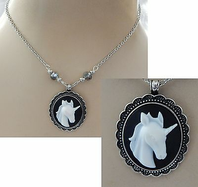 Cameo Style Unicorn Pendant Necklace Jewelry Handmade NEW Adjustable Silver