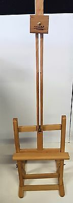 Artist Pine Wood Easel with Stretched and Panelboard Canvases