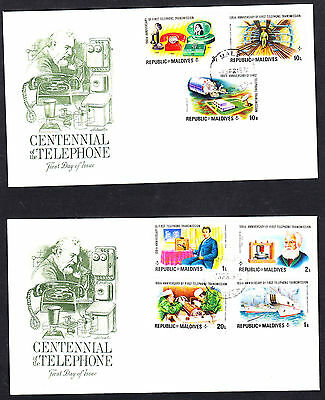Maldives 1976 Telephone Centenary Set & Minature Sheet 3 First Day Covers
