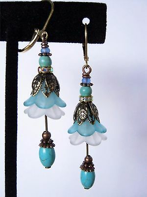 Vintage Victorian Style Dangle Earrings Genuine Turquoise Lucite Brass Leverback